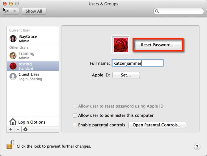 how do you reset mac computer password