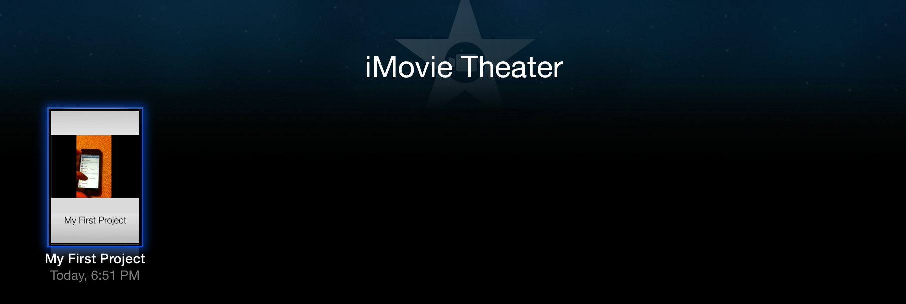 Figure 12: To view what you've uploaded to iMovie Theater, simply open the app from the main menu.