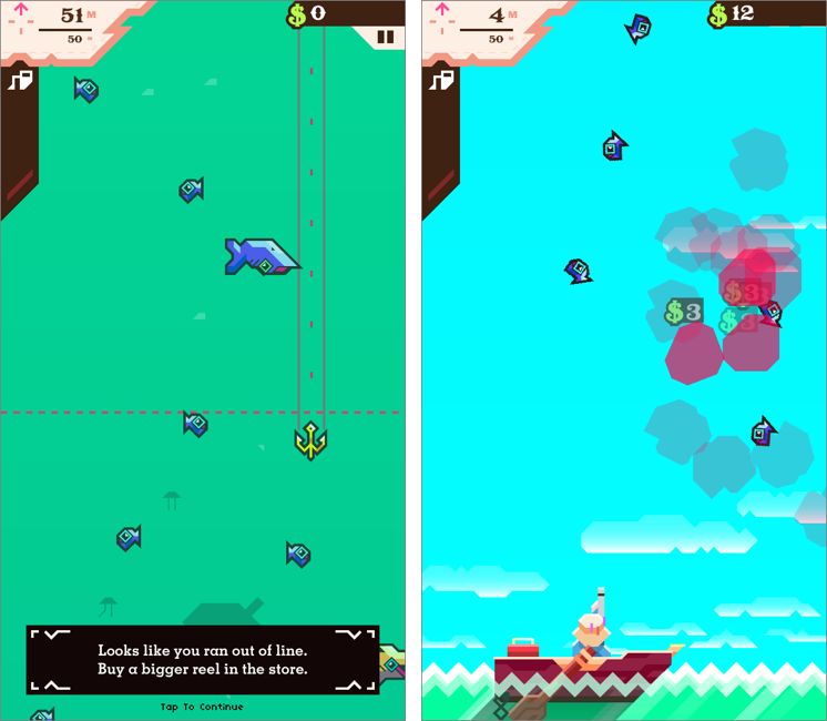 Snakes Is The Direction Game Like Wormies The Lines Are: FunBITS: Ridiculous Fishing For IPhone And IPad