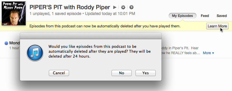 how to delete podcast title from nano