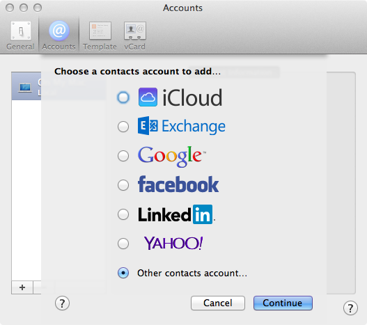 """Figure 2: To connect from the Contacts client app to the Contacts service, select """"Other contacts account."""""""