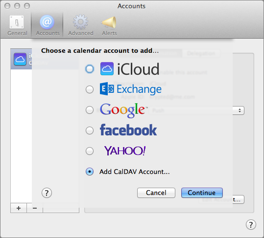 Figure 10: Add a CalDAV account to connect to your Calendar service.