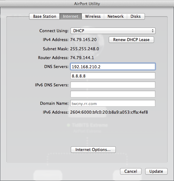 Figure 4: If you point your DHCP server at your DNS server, all the client Macs on your network that get their information from the DHCP server will automatically start using your new DNS server.