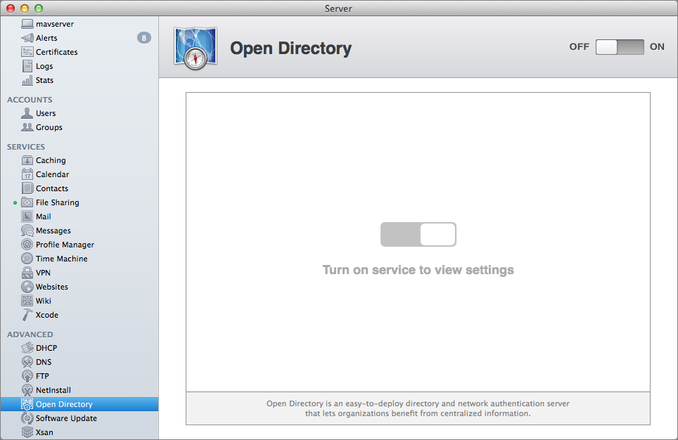 Figure 1: Turn on the Open Directory Service.
