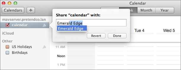 Figure 14: Enter the names of users with whom you want to share the calendar.