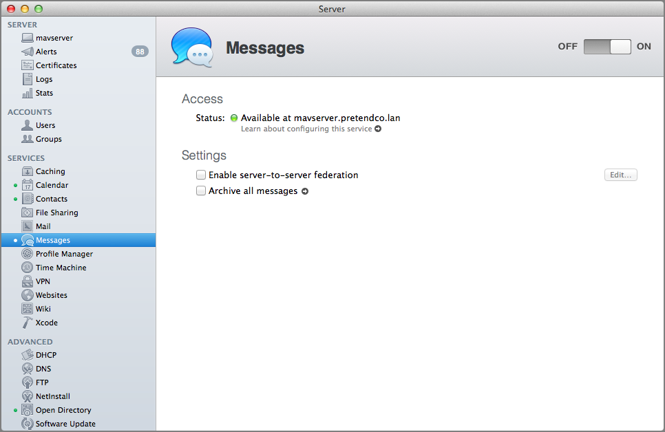 Figure 15: Configuring the Messages service is trivial—just click ON.
