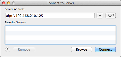 Figure 8: You can connect to a shared folder by IP address or by clicking the Browse button to locate it in a Finder window.