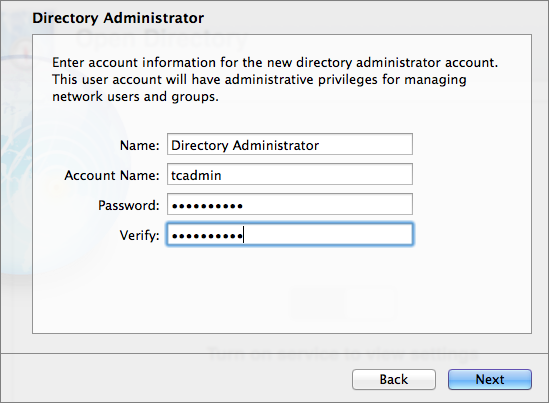 Figure 3: Enter your desired username and password for the Directory Administrator account.