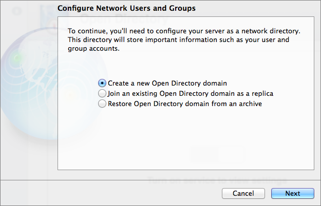 "Figure 2: Select ""Create a new Open Directory domain"" to start from scratch."