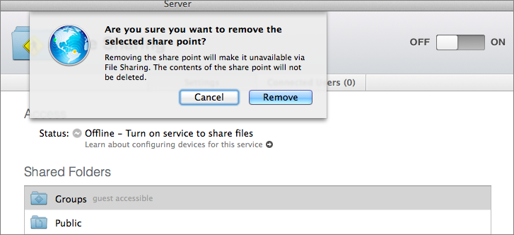 Figure 2: Server asks for confirmation if you try to disable a built-in shared folder.