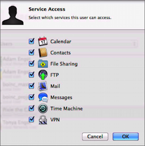 Figure 9: Choose which services the selected account should be able to access.
