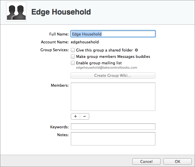 Figure 12: When you edit a group, you can specify more details than you can on the group creation screen.