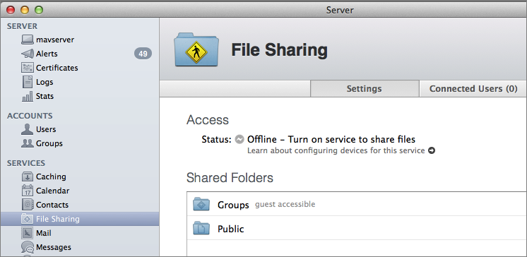 Figure 1: To get started with File Sharing, first remove unnecssary default shared folders.