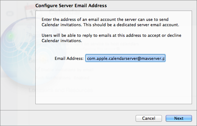 Figure 7: Enter the address that will be used to send Calendar invitations.