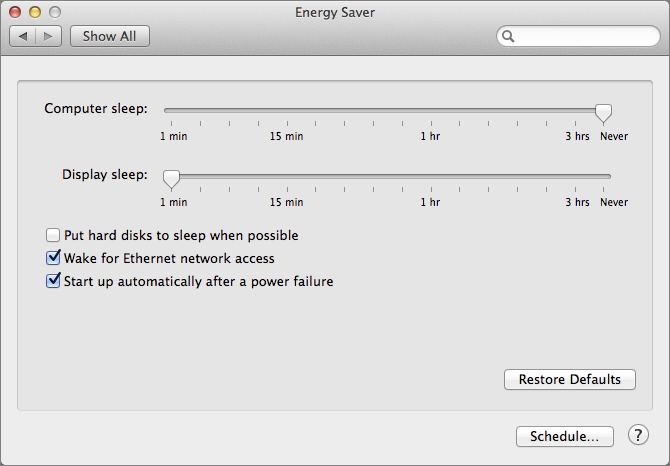 Figure 2: Configure Energy Saver options.