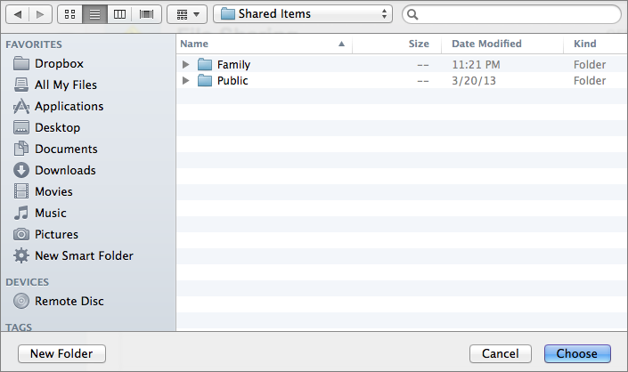 Figure 4: Find the shared folder and then click Choose.