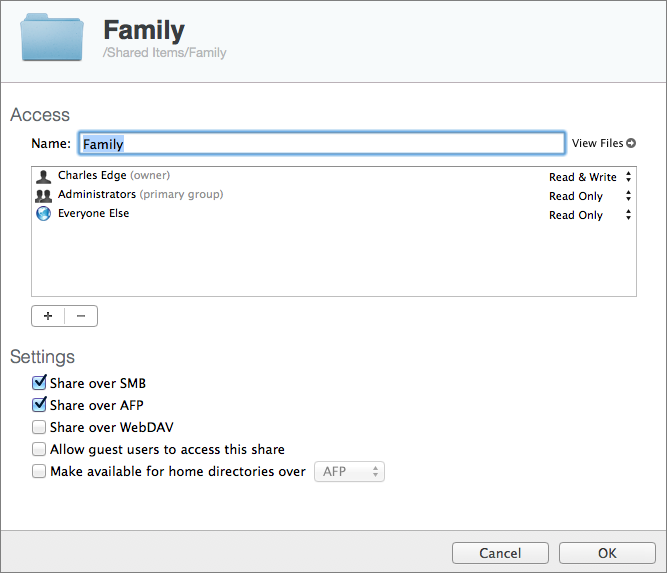 Figure 5: Specify how the new shared folder will work.