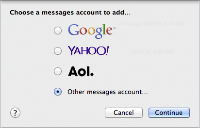 """Figure 16: Connecting to Messages server from the Messages app is easy—select """"Other messages account."""""""