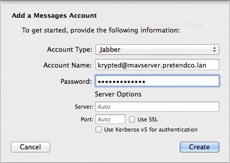 Figure 17: Tell the messages client how to connect to the Messages service by providing the account and server details.