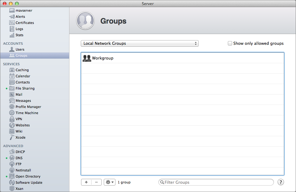 Figure 10: To add a local network group, open the Groups pane, choose Local Network Group, and then click the plus button.