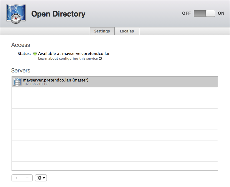 Figure 5: The Open Directory setup is complete. Notice the new server, highlighted in the Servers list.