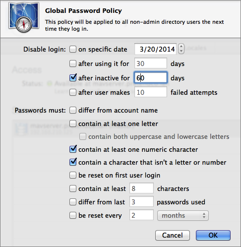 Figure 6: Set up your Open Directory global password policy.