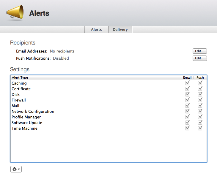 Figure 10: Pick which server alerts you want to receive, and whether you want to receive them through email, notifications, or both.