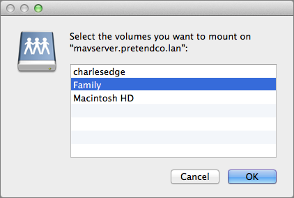 Figure 10: Select one or more shared folders to mount.