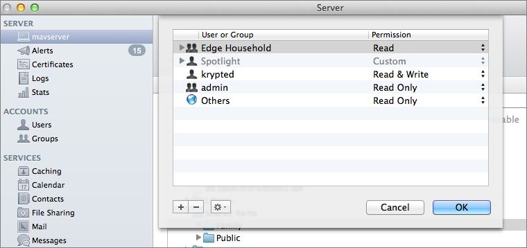Figure 7: Manage permissions for a sub-folder within a shared folder.