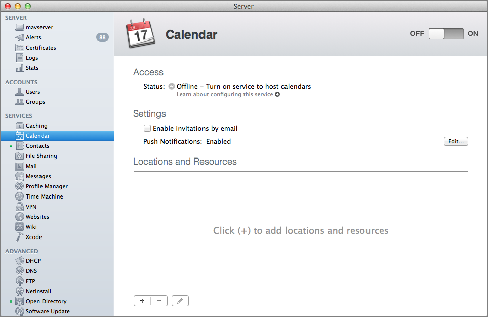Figure 5: Turn on the Calendar service with the button in the upper-right corner; all the other settings are optional.