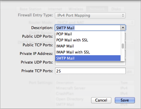 Figure 1: Setting up port mapping for mail services in AirPort Utility is just a matter of choosing from the Description pop-up menu.