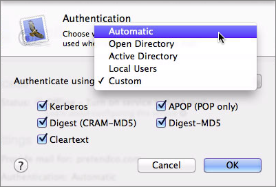 Figure 6: Stick with Automatic for authentication, but if you need to be more specific, it's possible.