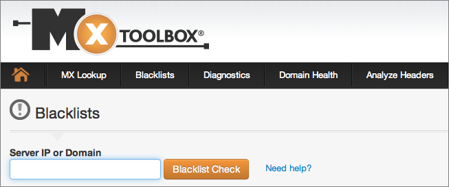 Figure 2: It's easy to check whether your IP address is on an RBL with the free MX Toolbox service.