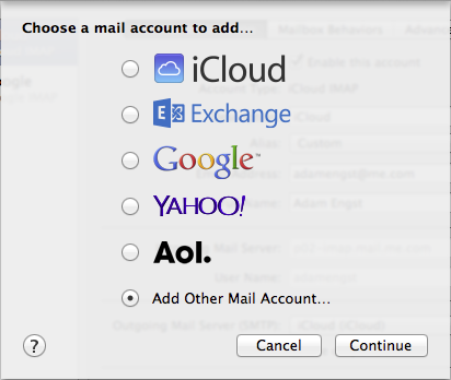 Figure 9: Add a new account in Mail's Preferences window.