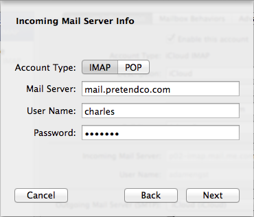 Figure 11: Choose between IMAP and POP, and enter the host name or IP address of your mail server.