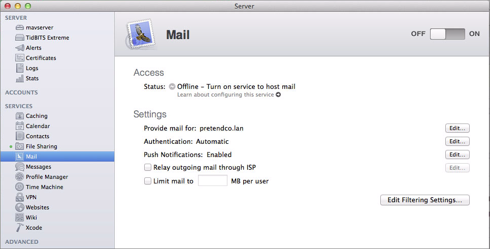 Figure 4: Mail settings in the Server app.