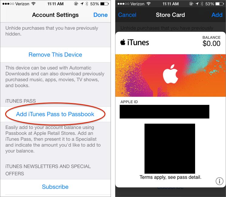 iTunes Pass: How to Buy iTunes Store Credit via Passbook - TidBITS