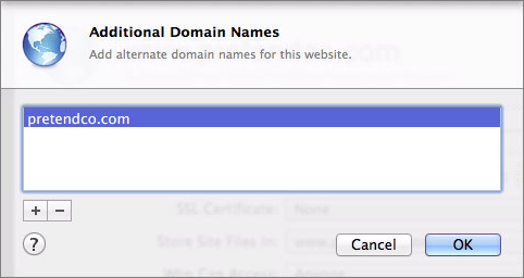 Figure 8: You site will respond to additional hostnames entered here.