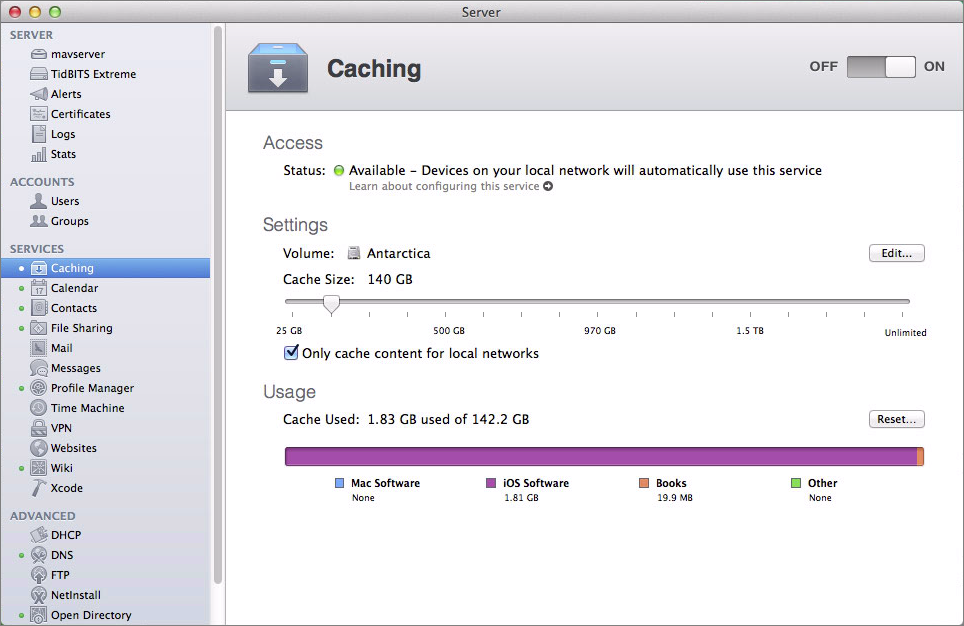 Figure 1: Configure the Caching service by choosing a destination and setting a cache size.