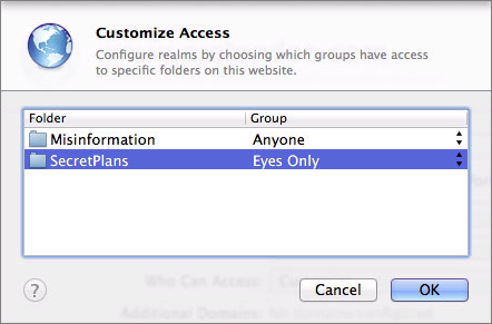 Figure 7: Specify which group should be able to view each folder in the Customize Access dialog.