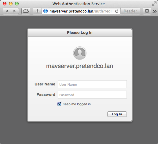 Figure 13: Log in to Profile Manager in a Web browser.