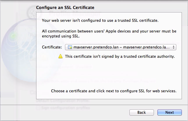 Figure 3: Choose an SSL certificate to protect the communications between your server and your users's devices.