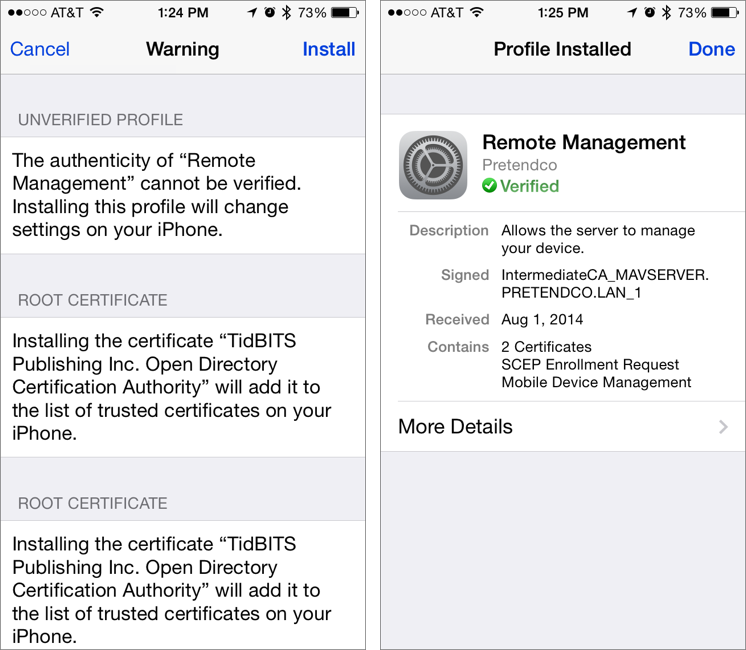 Figure 10: Tap Install to acknowledge the warning, and once the profile is installed, tap Done to finish.