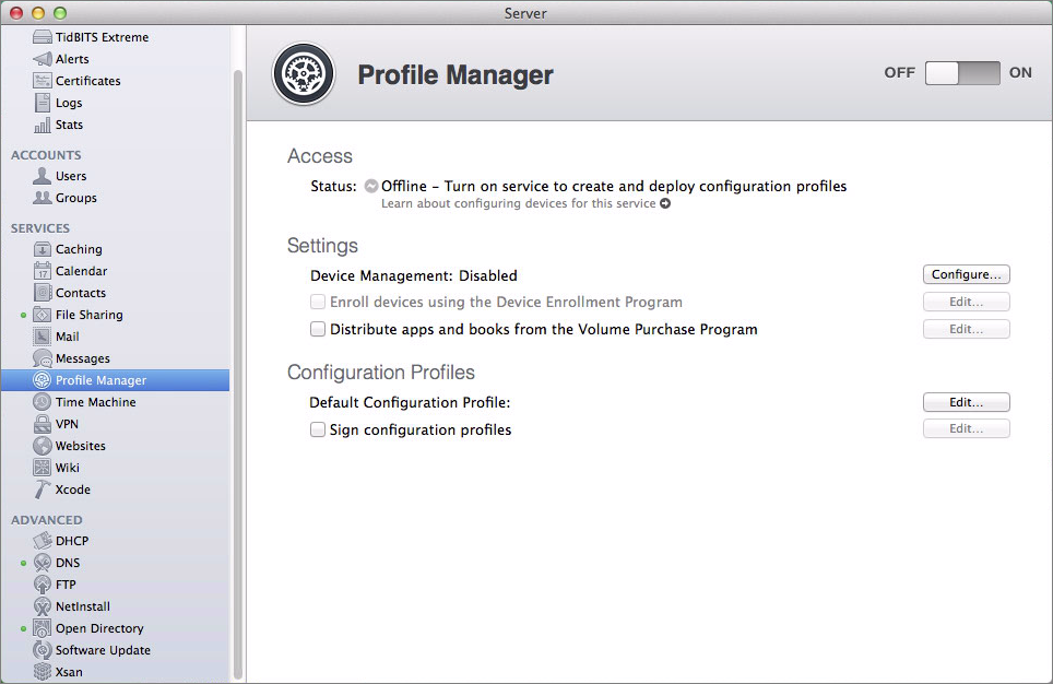 Figure 1: View Profile Manager's main screen.