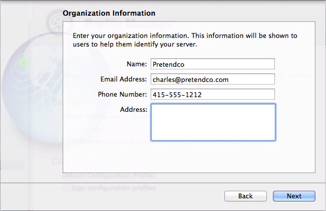 Figure 2: Enter your contact information in the Organization Information screen.