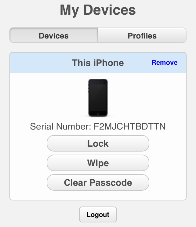 Figure 12: From the Profile Manager user portal, the user can always lock or wipe the device, or clear its passcode.
