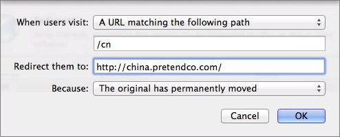Figure 9: Configure your redirect with the pop-up menus and fields.