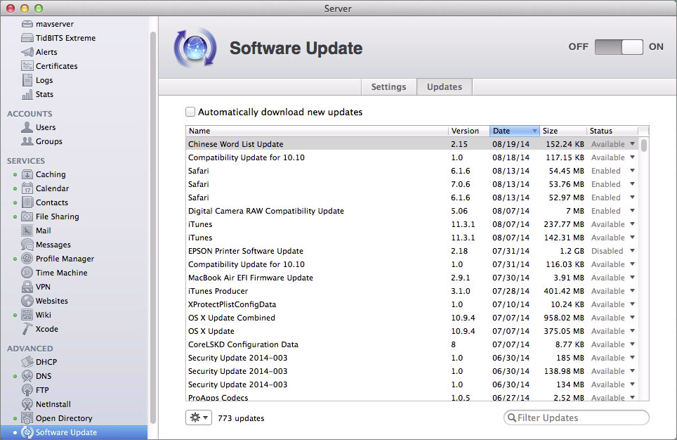 Figure 3: Work with individual updates in the Updates tab.