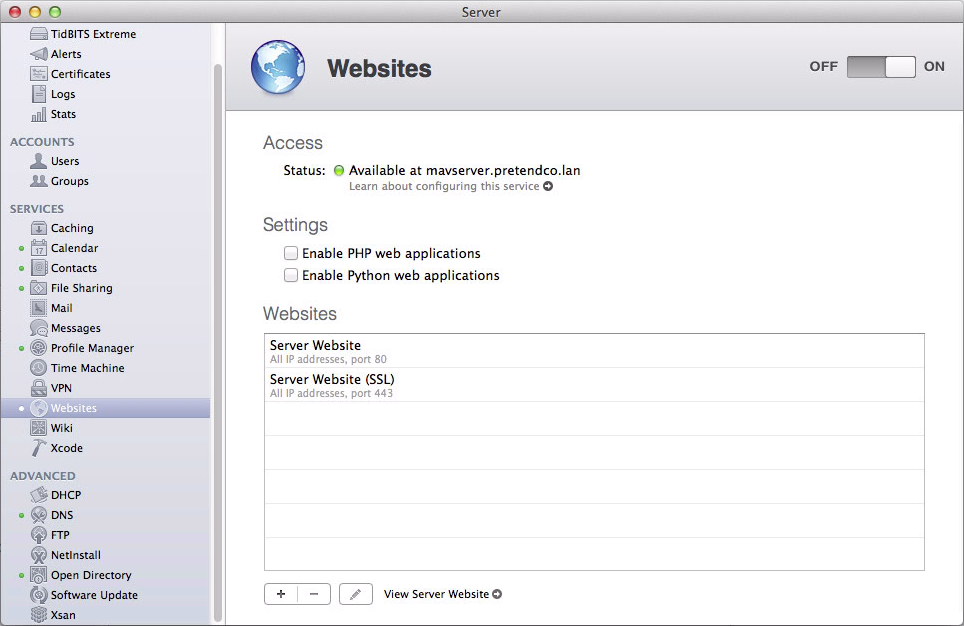Figure 1: Enable OS X Server's Web server by clicking the ON button in the Websites pane.