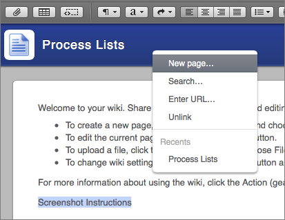 Figure 9: Click New Page in the menu that appears after clicking the Link button.